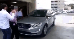 VIDEO: Salesman shows off how automatic sensor brakes on new Volvo