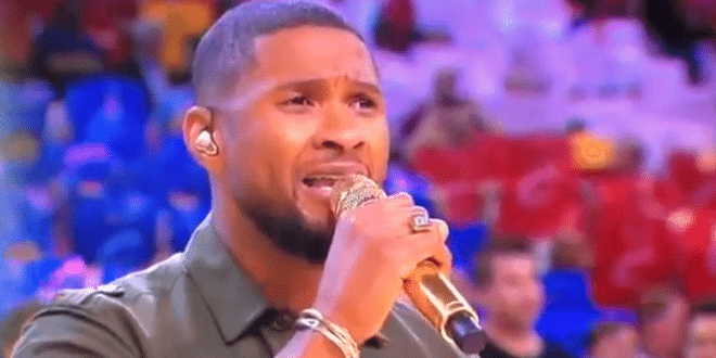 Usher Sings National Anthem Game 4 NBA Finals 2015