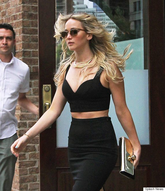 Jennifer Lawrence steps out looking beautiful in a black crop top and matching skirt in Tribeca, NYC. Pictured: Jennifer Lawrence Ref: SPL1064535  280615   Picture by: Said Elatab/Splash News Splash News and Pictures Los Angeles:310-821-2666 New York:212-619-2666 London:870-934-2666 photodesk@splashnews.com