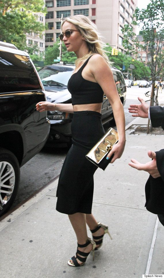 Jennifer Lawrence steps out looking beautiful in a black crop top and matching skirt in Tribeca, NYC. Pictured: Jennifer Lawrence Ref: SPL1064535  280615   Picture by: Said Elatab/Splash News Splash News and Pictures Los Angeles:310-821-2666 New York:212-619-2666 London:	870-934-2666 photodesk@splashnews.com