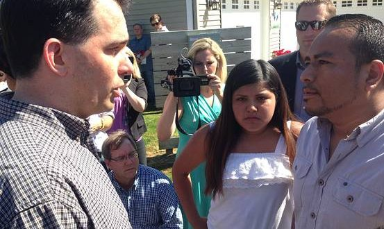 VIDEO Gov. Scott Walker, Confronted by Immigrants; Why are you trying to break our family apart?