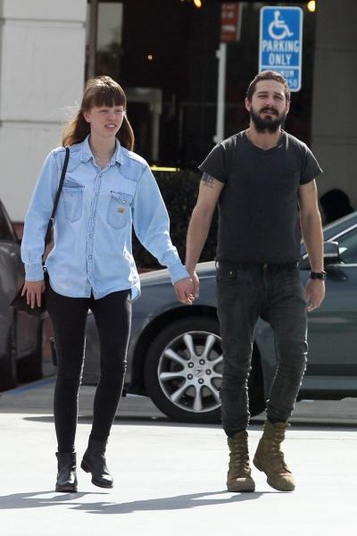 Happier Times: Lebeouf and Goth stroll through Studio City, Los Angeles, in February.