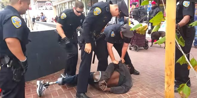 VIDEO 14 San Francisco Officers Gang Up on One-Legged Homeless Man