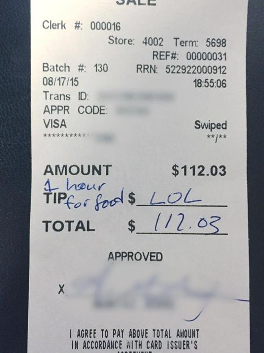 Diners Leave Waitress 'Lol' Note and No Tip