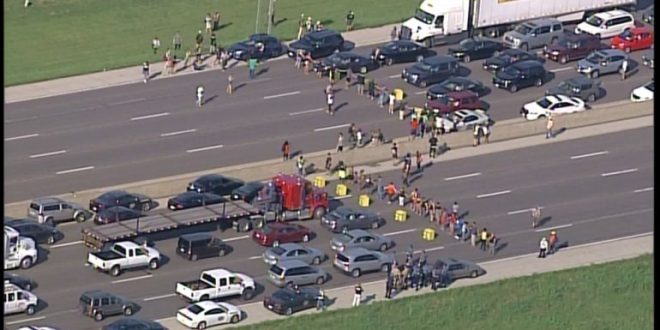 Ferguson Protesters Shut Down I-70 near Blanchette Bridge