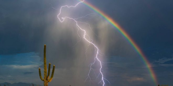 Lightning Bolt, Rainbow Captured in Dazzling Viral Photo