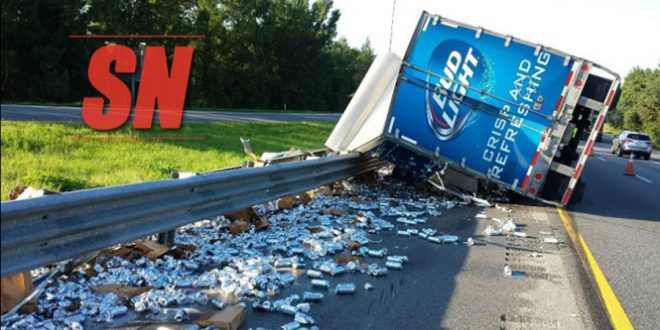 Truck Full of Beers Overturns, Dumps Cans On Highway