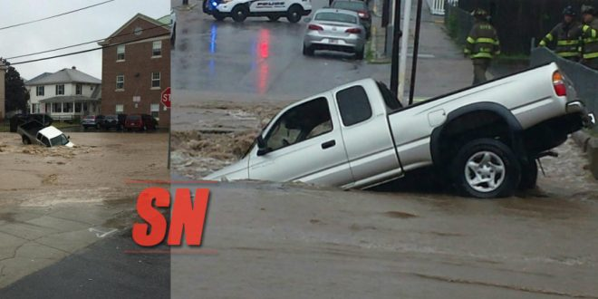 Central Falls Sinkhole Swallows up Pickup Truck