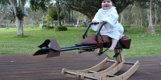 Awesome Father Builds 'Star Wars' speeder-bike rocker for Daughter