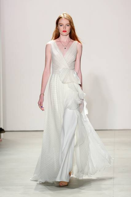 A model in Jenny Packham Spring 2016 show on Sunday. PHOTO: NEILSON BARNARD/GETTY IMAGES