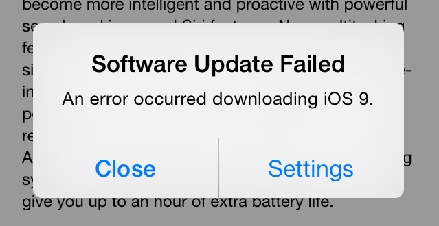 Apple Devices Experiencing Issues when Updating to #iOS9