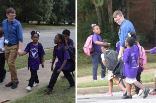 Dedicated Elementary School Teacher Carl Schneider Walks Students Home From School Every Day