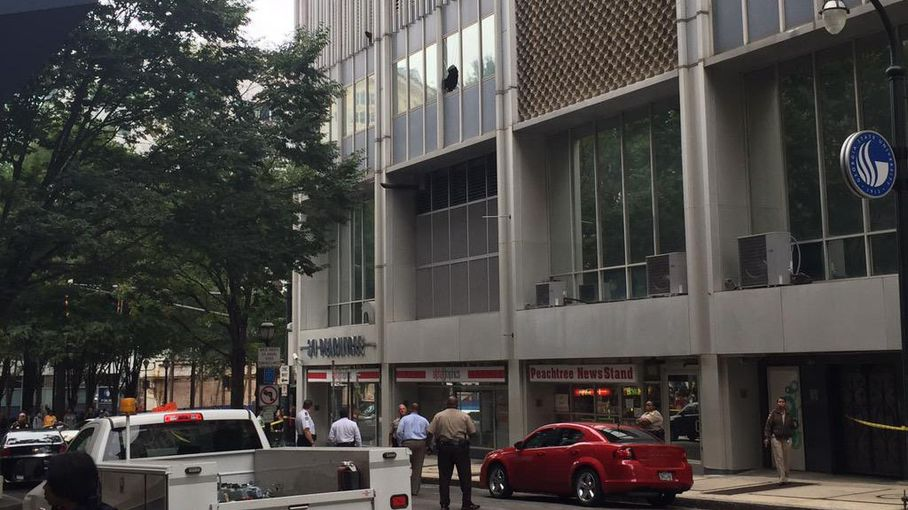 Peachtree Street, Atlanta: Handcuffed Man Jumps from Window in Downtown Building