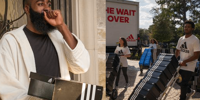 James Harden Receives a Truck Full of Adidas Shoes
