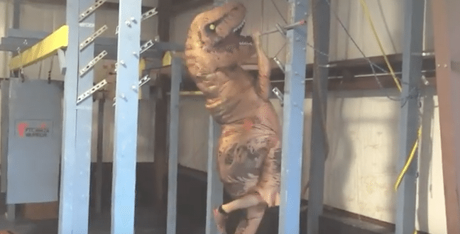 Person in Dinosaur Costume Goes Through American Ninja Warrior Training Course