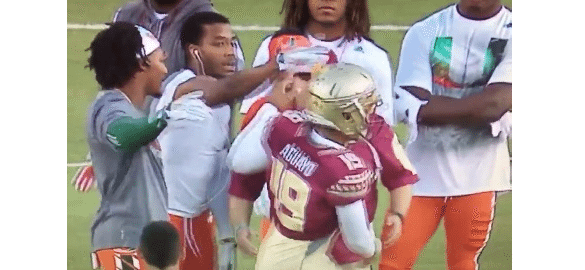 VIDEO Miami Hurricanes Players Angrily Confront FSU Kicker Roberto Aguayo Before Game