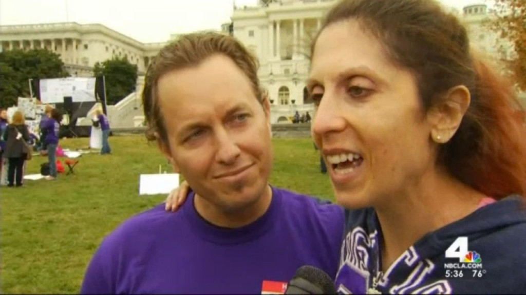 Rachael Farrokh and her husband, Rod Edmondson, at the March Against ED rally in Washington. NBC Southern California