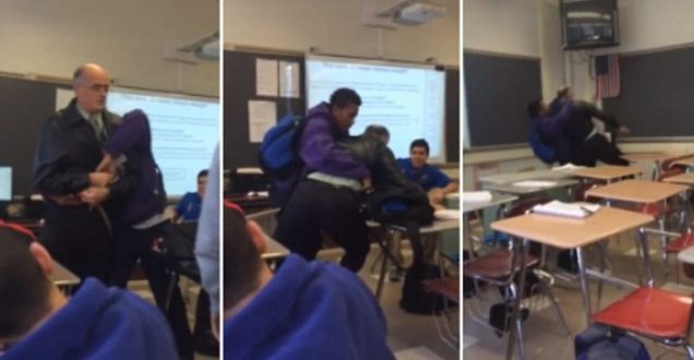 Video Student Body-Slamming Teacher to Ground in Paterson, New Jersey