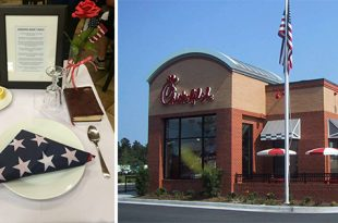 Chick-fil-A Restaurant Sets Special Table for Veterans