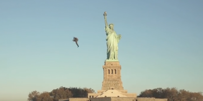 Video Man Flying Near Statue of Liberty on Jetpack in New York City