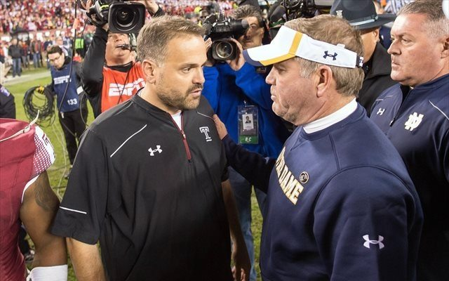 Brian Kelly got the better of Matt Rhule on Saturday, but barely. (USATSI)