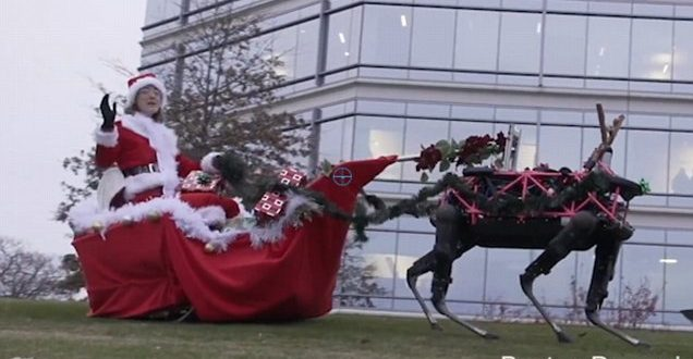 VIDEO Boston Dynamics: 4-Legged Robots Pulling Merry Christmas Sleigh