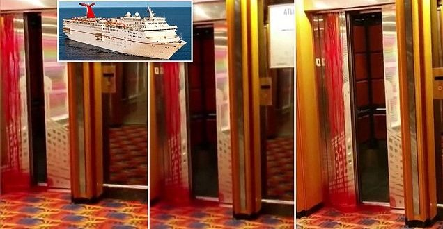 Video shows bloody elevator after worker's death on Carnival Ecstasy