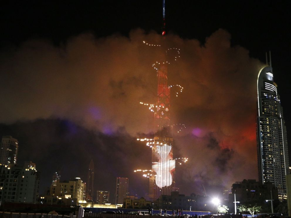 Karim Sahib/AFP/Getty Images Smoke billows from a fire at the Address Downtown Hotel during a fireworks display at the Burj Khalifa, Jan. 1, 2016 in Dubai.