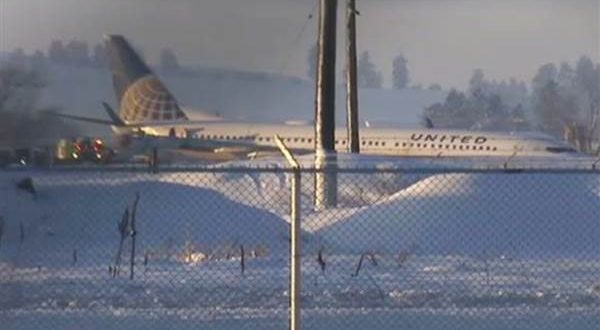 United Airlines Flight Slides Off Icy Taxiway at Spokane International Airport