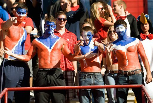 Arizona fans cheers on their team during the second half of an NCAA college football game against Colorado at Arizona Stadium in Tucson, Ariz., Saturday, Nov. 10, 2012. Arizona won 56 - 31. (AP Photo/Wily Low)