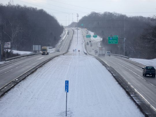 The view around noon looking east on Interstate 74, just east of the Dry Fork Road exit. (Photo: The Enquirer/Carrie Cochran)