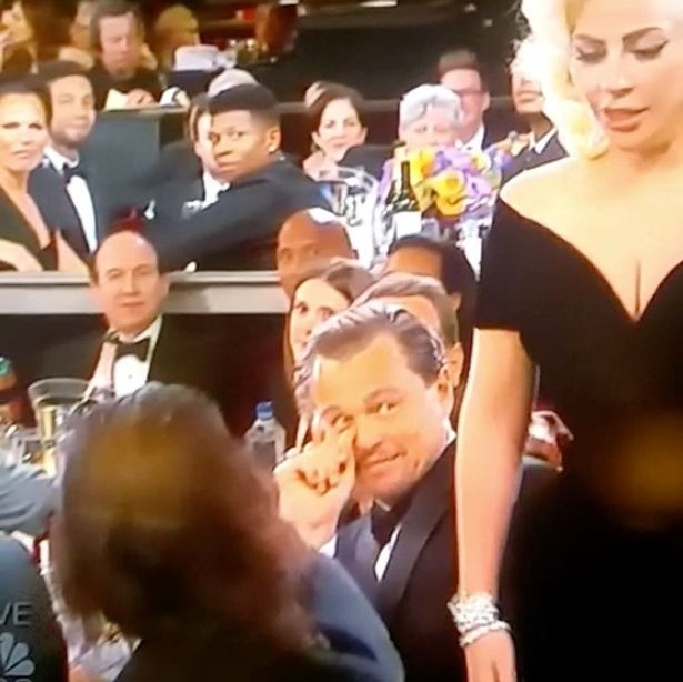 Hollywood hearthrob Leonardo DiCaprio raises his eyes as Gaga pushes past his arm on her way to the stage
