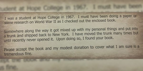 Man in Holland, Michigan Returns Library Book He Borrowed in 1967