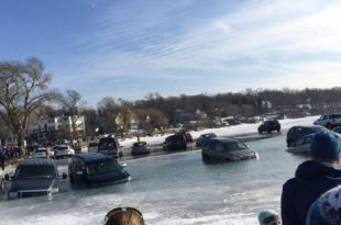 Lake Geneva, Wisconsin: Several Cars Fall Through Ice at Sculpting Competition