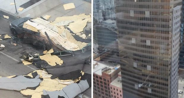 Strong Winds Trap Construction Workers Downtown Chicago