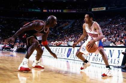 PHILADELPHIA – 1997: Allen Iverson #3 of the Philadelphia 76ers faces off at the perimeter against Michael Jordan #23 of the Chicago Bulls at the First Union Center during the 1997 NBA season in Philadelphia, Pennsylvania. Copyright 1997 NBAE (Photo by Lou Capozzola/NBAE/Getty Images)