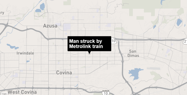 Metrolink Train Strikes and Kills Person in Covina Area