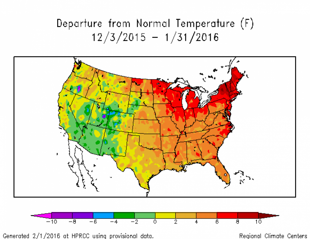 Temperature difference from normal during January and February. (High Plains Regional Climate Center)