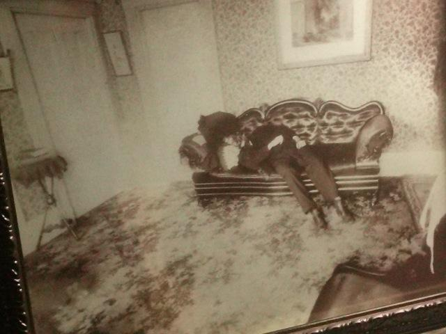 A snapshot of the original photo taken of Andrew Borden's body after the murder. (Photo of the original photo courtesy Joanne Parent)