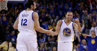 VIDEO Andrew Bogut Celebrates Stephen Curry Three Before it Leaves His Hand