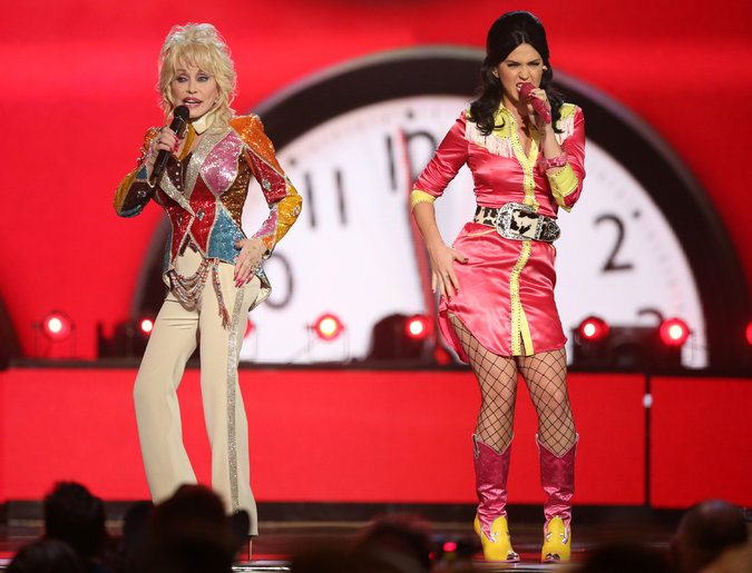"""Dolly Parton, left, and Katy Perry, performing """"Coat of Many Colors"""" at the 51st Academy of Country Music Awards in Las Vegas on Sunday. Credit"""