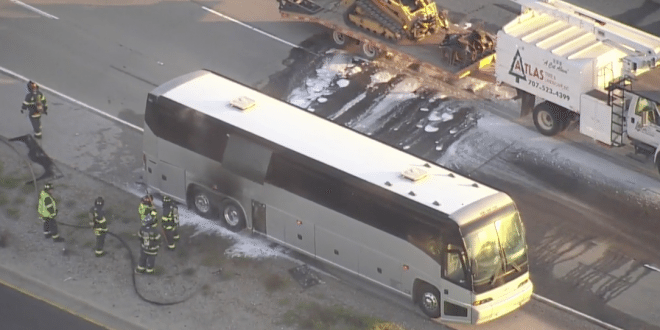 VIDEO Apple Shuttle Bus Carrying Employees Catches Fire Near Menlo Park, Calif.