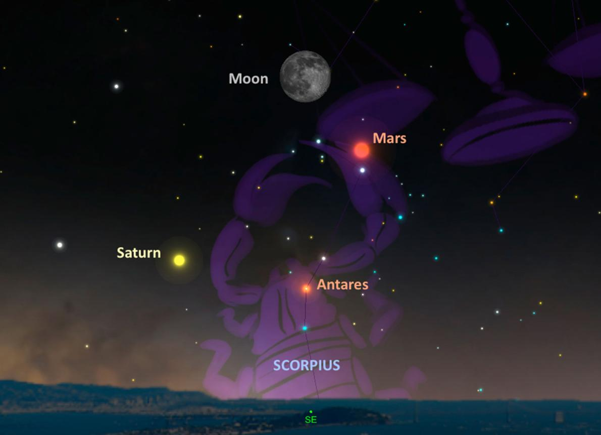 On May 21, Mars will be parked next to the full moon and will form a triangle with Saturn and the bright star Antares. SKYCHART BY A. FAZEKAS, SKYSAFARI