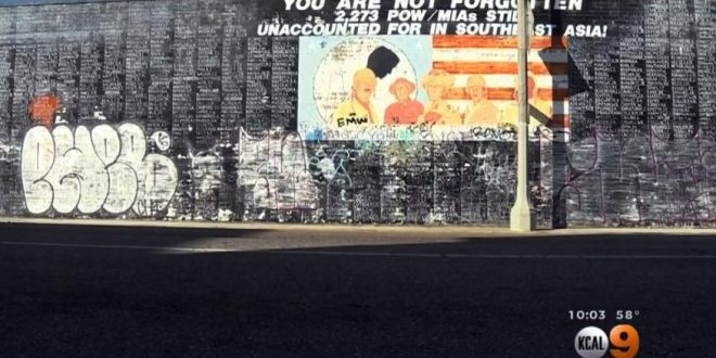 Venice, Los Angeles: Vietnam War Memorial Vandalized With Graffiti