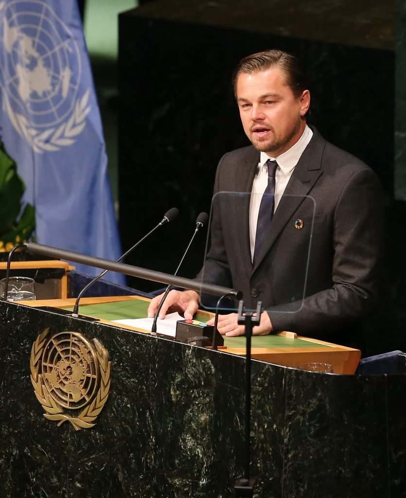 Leonardo DiCaprio speaks during the Paris Agreement For Climate Change Signing at United Nations on April 22, 2016 in New York City. [Photo by Jemal Countess/Getty Images]