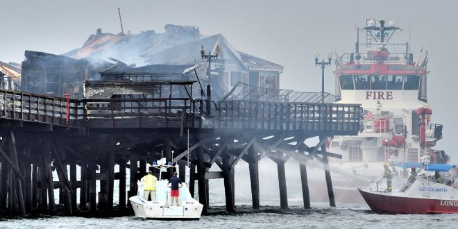 Fire Destroys Abandoned Ruby's Diner Located on Pier in Seal Beach, Calif.