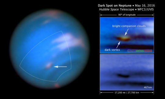 Hubble Space Telescope Captures Dark Vortex Nearly Size of US on Neptune Planet