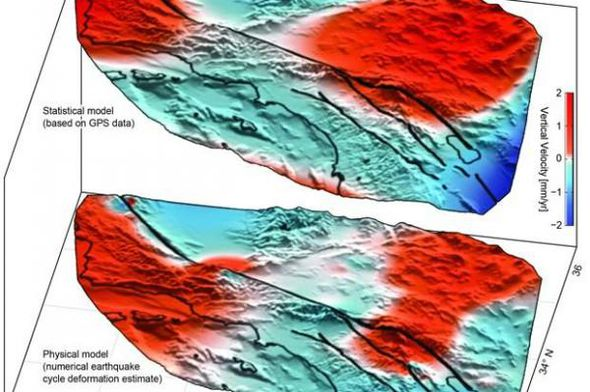 This graphic shows areas of uplift and subsidence along the fault.