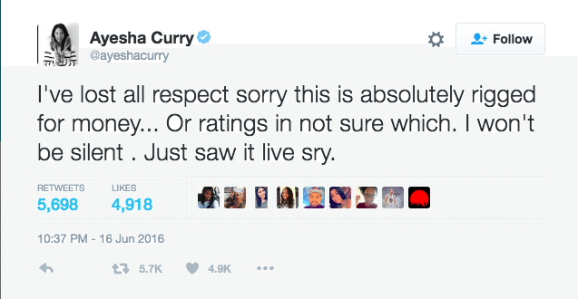 Ayesha Curry Claimed the NBA is 'Rigged' After Stephen Curry Fouled Out in Game 6