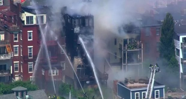 Large Fire Destroys Apartment Buildings on Bunker Hill Street in Charlestown